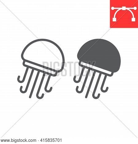 Jellyfish Line And Glyph Icon, Sea And Ocean Animals, Jellyfish Vector Icon, Vector Graphics, Editab