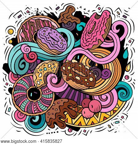 Donuts Hand Drawn Vector Doodles Illustration.