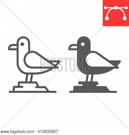 Seagull Line And Glyph Icon, Sea And Herring Gull, Seagull Vector Icon, Vector Graphics, Editable St