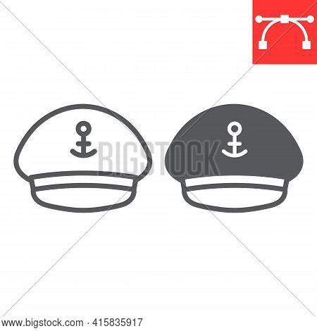 Captain Hat Line And Glyph Icon, Sea And Uniform, Captain Cap Vector Icon, Vector Graphics, Editable