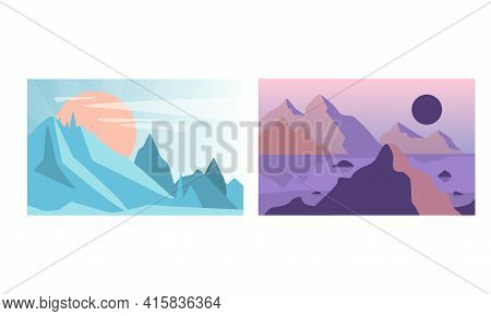 Beautiful Mountain Landscapes At Different Times Of The Day Set, Serenity Scenes Of Naturet, Poster,