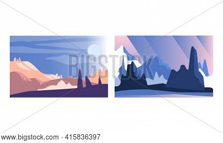 Abstract Mountain Landscapes Set, Serenity Scenes Of Nature At Sunlight Cartoon Vector Illustration