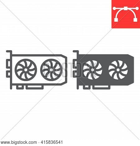 Gpu Card Line And Glyph Icon, Hardware And Bitcoin Mining, Graphic Card Vector Icon, Vector Graphics