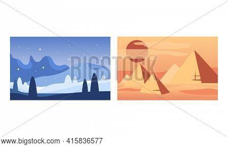 Beautiful Winter And Desert Landscape Set, Serenity Scenes Of Nature Cartoon Vector Illustration