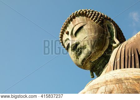Kamakura, Japan - Dec 20, 2015: Colse Up Of Daibutsu Statue At Kotoku-in Temple; Monumental Outdoor