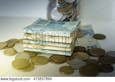 Coins And Banknotes Of Brazilian Real, Money From Brazil, Notes Of Real, Brazil Brl Banknote, Econom