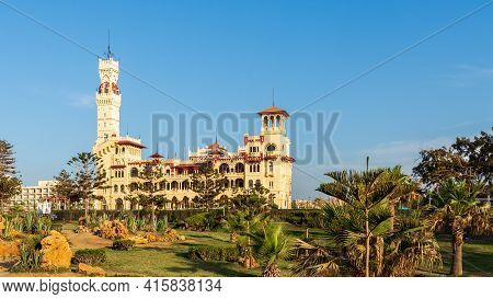 Alexandria, Egypt- April 28 2018: Day Shot Of Montaza Public Park With Royal Palace And Palestine Ho