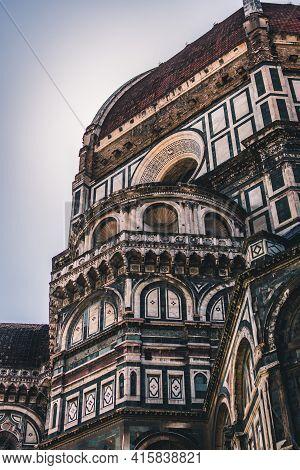 Close Up. The White Marble Facade, Exterior, Of The Central Church, Duomo, Also Known As Santa Maria