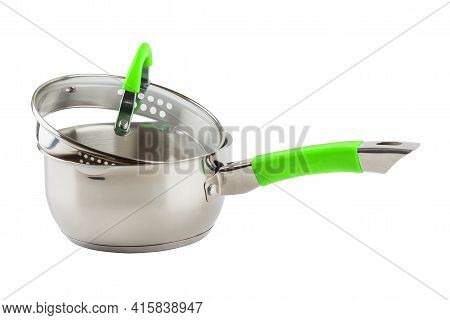 Small Shiny Stainless Steel Pot With Green Handle And Glass Lid - Isolated On White