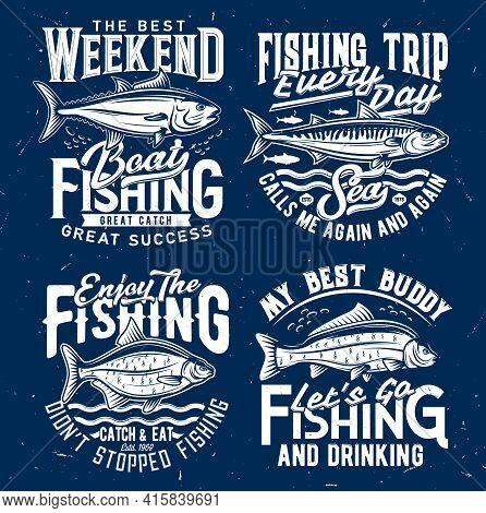 Fishing Sport Tourism T-shirt Print Template. Tuna And Atlantic Mackerel, Bream And Carp Engraved Ve