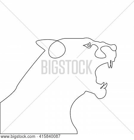 Minimalist One Line Head Of Tiger Or Lioness Open Mouth. Angry Tiger Head One Line Hand Drawing Cont