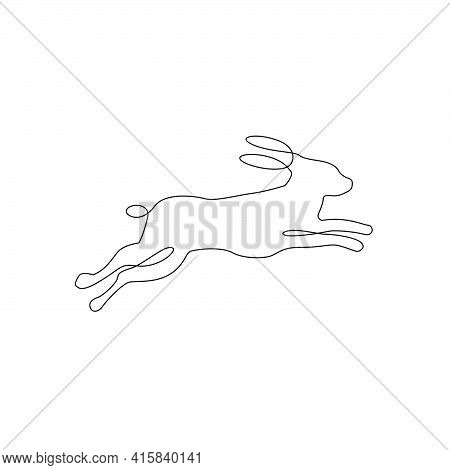 Minimalistic One Line Running Rabbit Icon. Line Drawing Rabbit Tattoo, Vector Illustration. Free Sin
