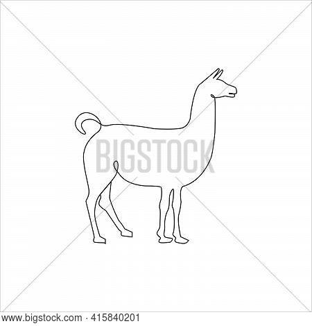 Llama Outline Drawing Tattoo. Vector Illustration. Minimalistic Llama One Line Hand Drawing Continuo