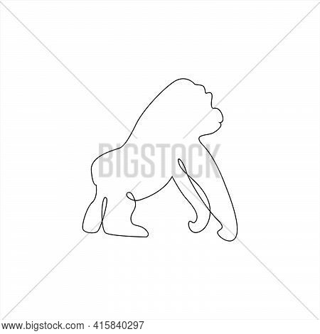 Minimalistic One Line Monkey Or Gorilla Icon. Gorilla Monkey One Line Hand Drawing Continuous Art Pr