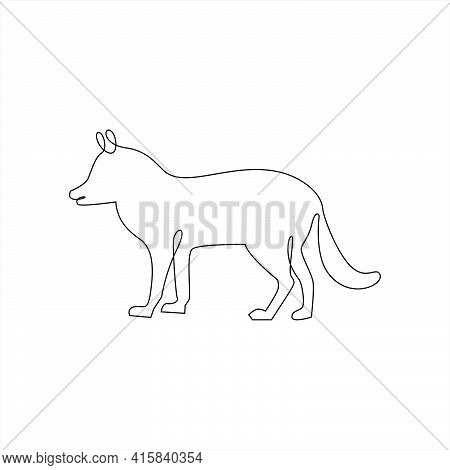 Minimalist One Line Fox Or Dog Icon. Line Drawing Animal Tattoo. Dog Or Fox One Line Hand Drawing Co