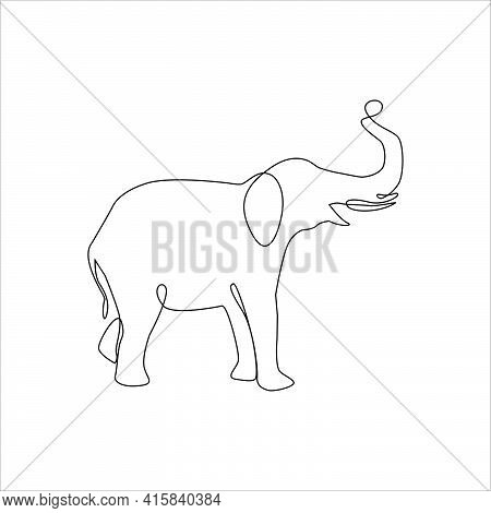 Minimalist One Line Elephant Icon. Elephant One Line Hand Drawing Continuous Art Print, Vector Illus
