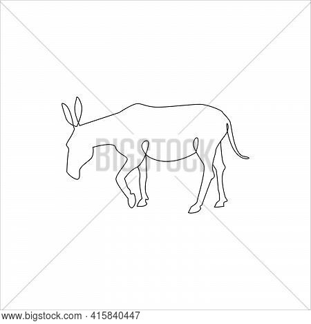 One Line Animals Minimalist Icon. Line Drawing Donkey Tattoo. Farm Animals One Line Hand Drawing Con