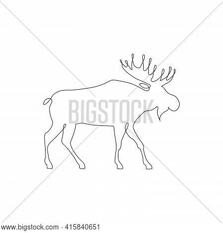 Minimalistic One Line Moose Deer Icon. Moose Or Caribou Reindeer One Line Hand Drawing Continuous Ar