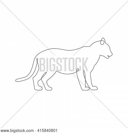 Minimalistic One Line Tiger Or Lioness Icon On Side View. Line Drawing Animal Tattoo. Tiger One Line