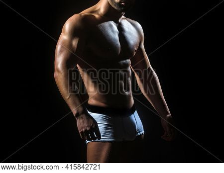 Sporty Man With Sexy Athlete Body In Pants. Sexy Gay In White Panties. Nude Man Or Gay With Muscle T