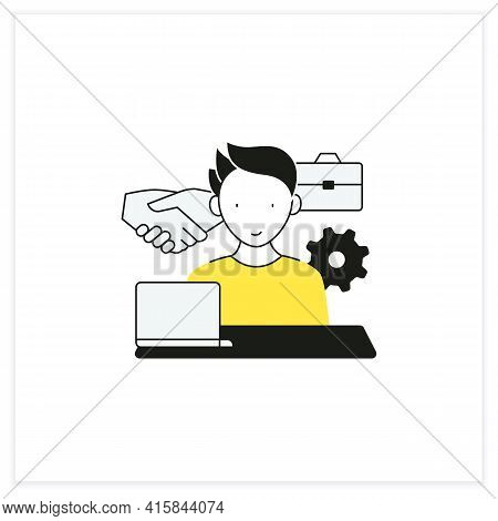 Workaholism Flat Icon. Business Ethics.conduct Rules At Workplace. Workaholic Concept.vector Illustr