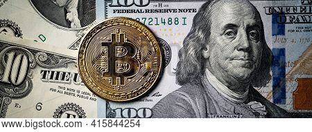 Business Top View Design Concept Of Bitcoin With Usd Dollar Paper Currency.