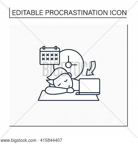 Crisis Marker Procrastinator Line Icon.laziness. Defer Task. Sleep At Workplace. Working On Stressfu