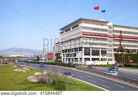 Izmir, Turkey - February 5, 2015: Street View With Izmir Metropolitan Municipality Office Building,