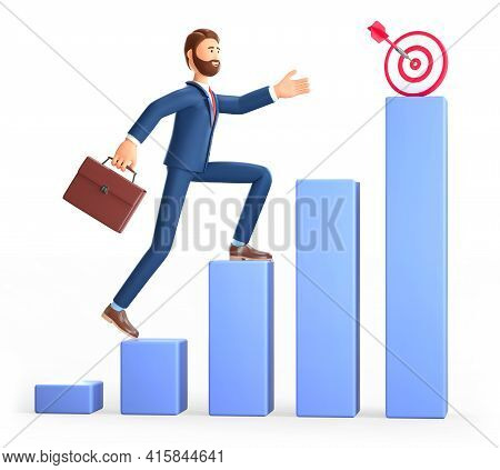 3d Illustration Of Man Climbing The Steps To Success Target. Cute Cartoon Businessman With Briefcase