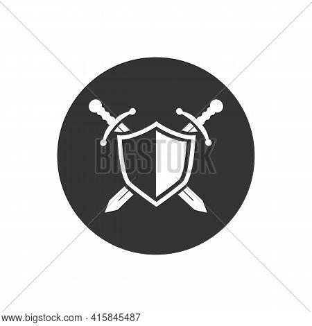 Vector Shield White Icon, Flat Design Best Shield Icon, Sword Icon Conception With Shield Icon