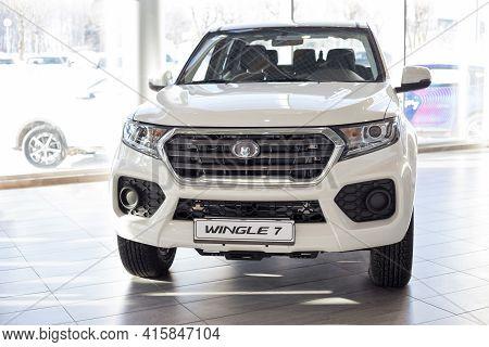 Russia, Izhevsk - February 17, 2021: Great Wall Showroom. New Modern Wingle 7 Pickup In Dealer Showr