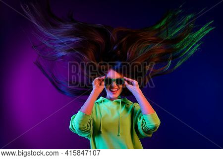 Photo Of Crazy Funky Young Woman Wear Sunglass Cool Long Hair Fly Wind Isolated On Colorful Gradient