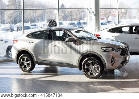 Russia, Izhevsk - February 17, 2021: Haval Showroom. New Modern F7x Car In Dealer Showroom. Front An