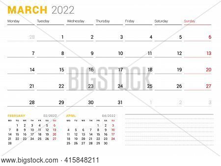 Calendar Template For March 2022. Business Monthly Planner. Stationery Design. Week Starts On Monday