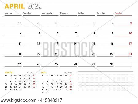 Calendar Template For April 2022. Business Monthly Planner. Stationery Design. Week Starts On Monday