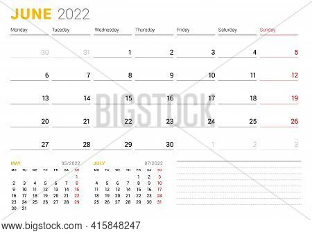Calendar Template For June 2022. Business Monthly Planner. Stationery Design. Week Starts On Monday.