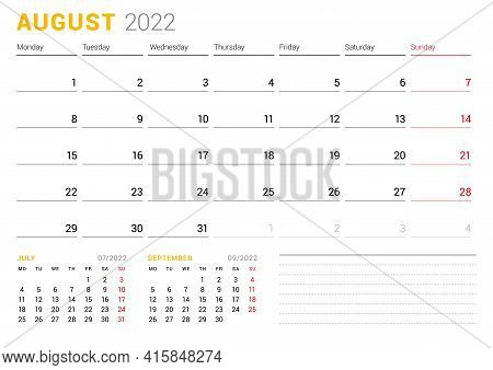 Calendar Template For August 2022. Business Monthly Planner. Stationery Design. Week Starts On Monda