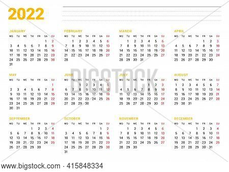Calendar Template For 2022 Year. Business Monthly Planner. Stationery Design. Week Starts On Monday.