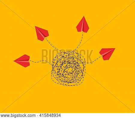 Creative Concept. Paper Airplanes Flying Out Of Tangled Tangle. Business Idea Illustration. Brainsto