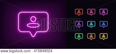 Neon User Icon. Glowing Neon Bubble Sign With Person, Outline Helper Silhouette In Vivid Colors. Onl