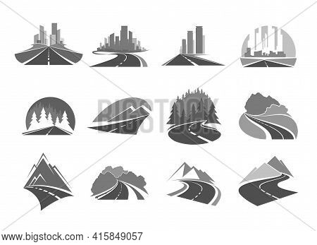 Road Icons, Highway To City, Forest And Mountains, Way And Traffic Route, Vector Icons. Road Signs O