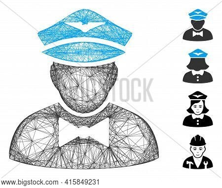 Vector Wire Frame Airline Steward. Geometric Wire Frame 2d Network Made From Airline Steward Icon, D