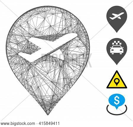Vector Net Airport Marker. Geometric Hatched Frame Flat Net Made From Airport Marker Icon, Designed