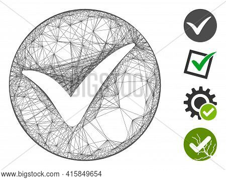 Vector Network Apply. Geometric Wire Frame Flat Network Generated With Apply Icon, Designed With Int