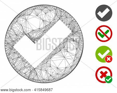 Vector Wire Frame Apply. Geometric Wire Frame 2d Net Based On Apply Icon, Designed From Crossed Line