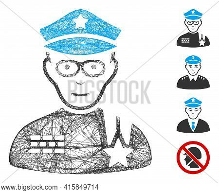 Vector Wire Frame Army General. Geometric Wire Carcass Flat Net Generated With Army General Icon, De