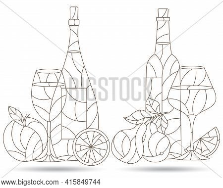 A Set Of Contour Illustrations In The Style Of Stained Glass With Compositions Of Wine And Fruit, St