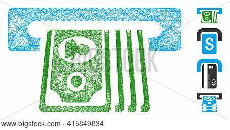 Vector Wire Frame Atm Insert Cash. Geometric Hatched Frame 2d Network Generated With Atm Insert Cash