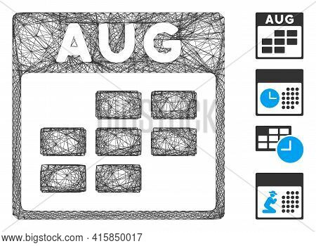 Vector Wire Frame August Calendar Grid. Geometric Wire Frame Flat Network Generated With August Cale