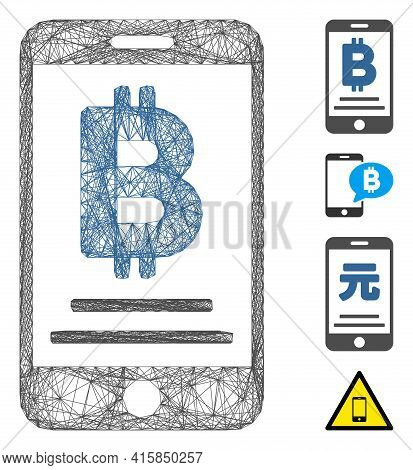 Vector Wire Frame Baht Mobile Payment. Geometric Wire Carcass 2d Network Generated With Baht Mobile